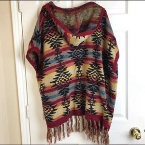 American Eagle Outfitters Aztec poncho hoodie